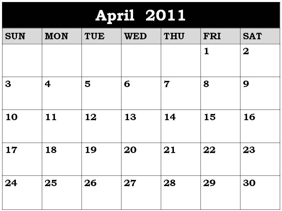 2011 calendar printable april. printable april 2011 calendar