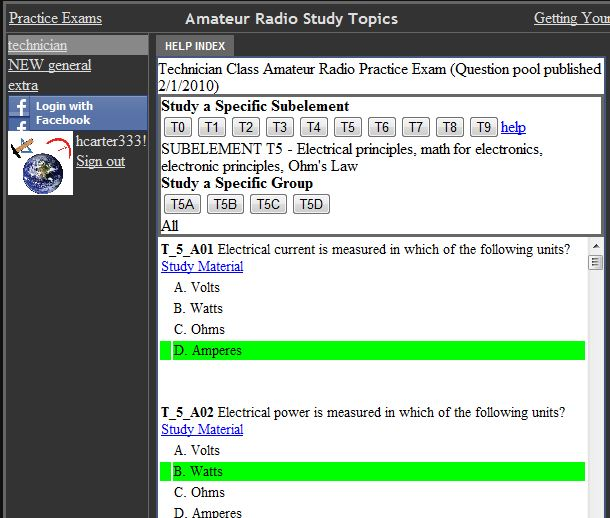 Help Index for Ham Radio Practice Exams at Copasetic Flows