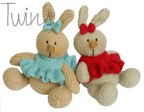 Easy Knitting Patterns Toys : Twins Knitting Pattern MiniShop: Knitted Baby Bunnies - knitting pattern...