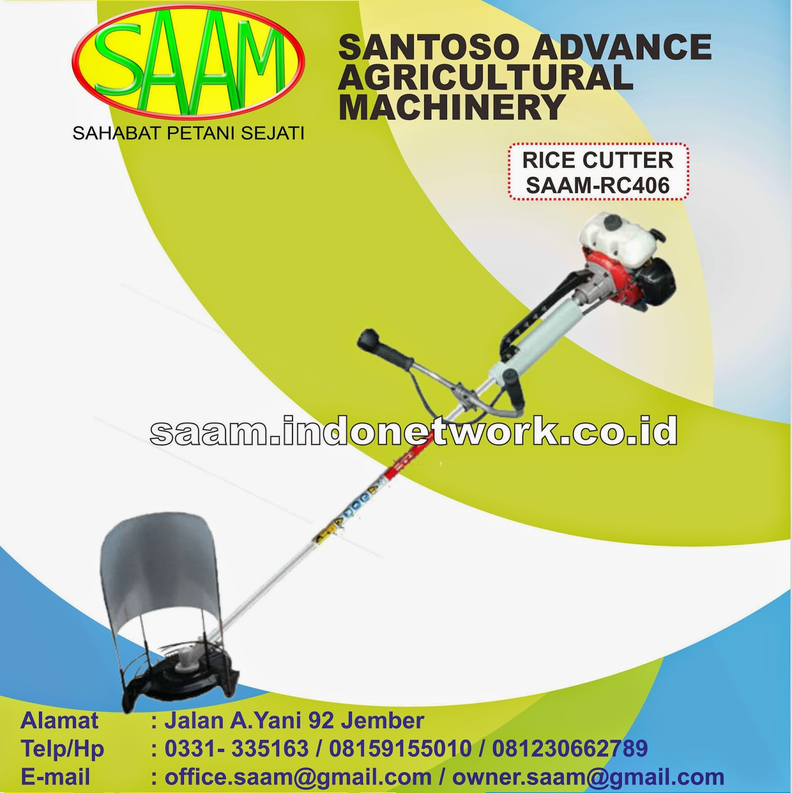 Pemotog Batang Padi Rice Cutter Saam Rc 406 Santoso Advance Paket Tudung 1 Pisau Dan Gearcase Agricultural Machinery