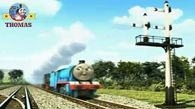 Grand Gordon the train and Ferdinand logging loco engine race to a railway signal junction box light
