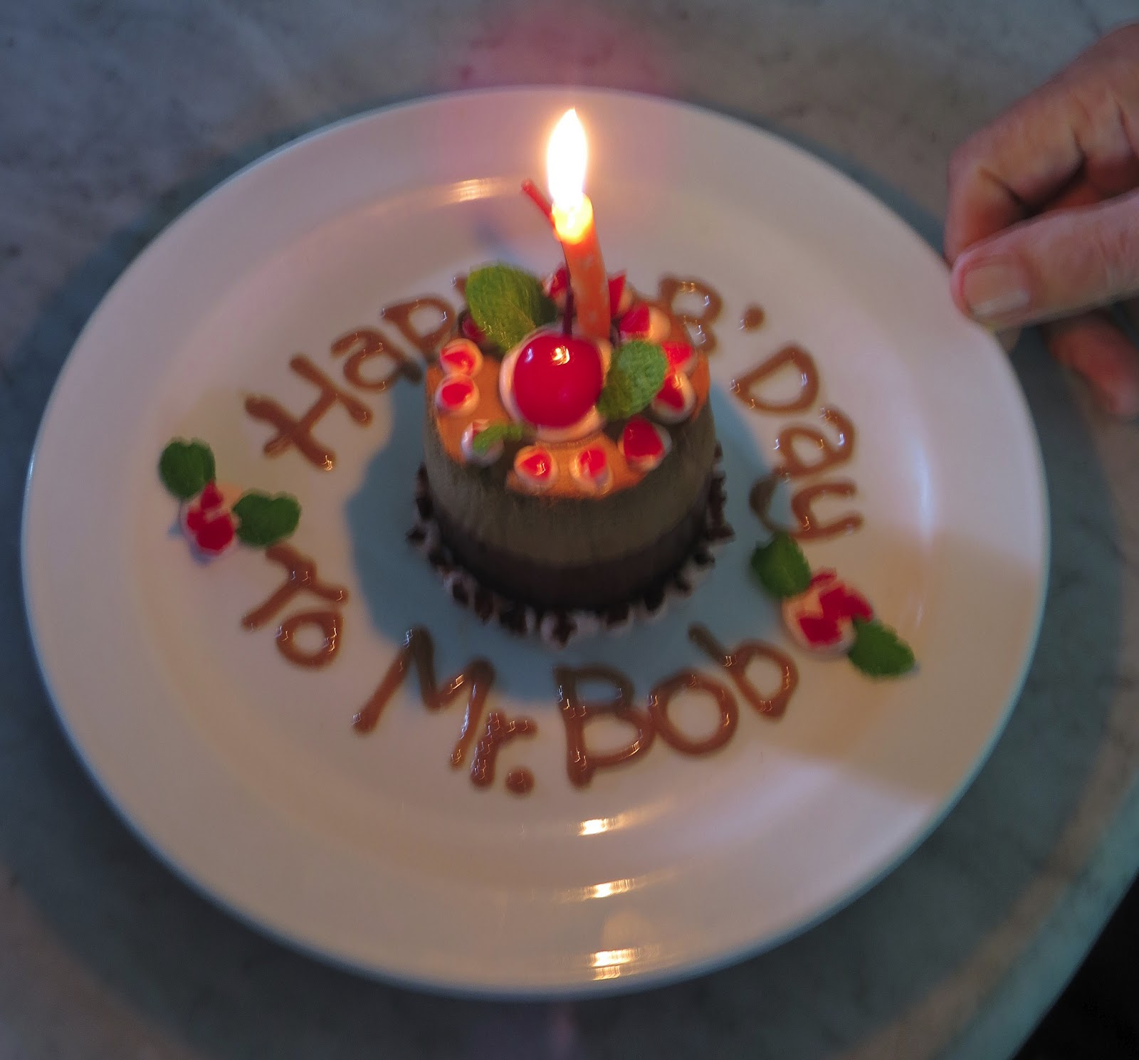 Bob Glowed When The Staff Came Out With A Cake And Candle Singing Happy Birthday Theyd Written Mr In Frosting Around Plate