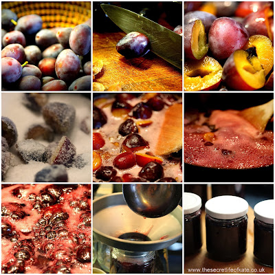 Collage showing: plums in a bowl; plums being cut; cut plums; plums mixed with sugar; heated plums with jam; early boil; rolling boil; putting jam into jars; jam in jars
