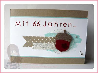 Stampin' Up! Rosa Mädchen Geburtstagskarte Eichelstanze Eichel  Back to Basics Alphabet