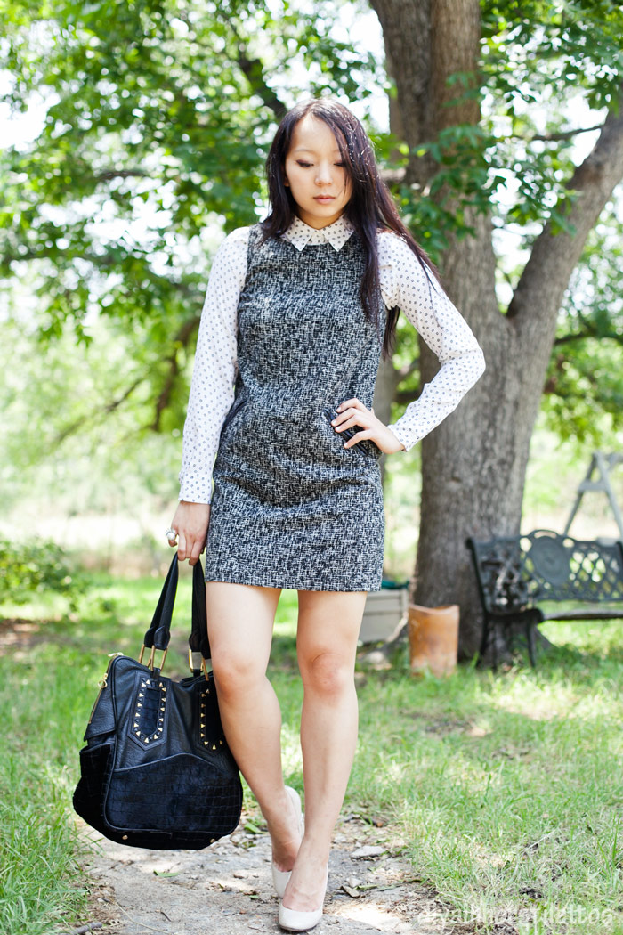 equipment daddy shirt, LOFT tweed shift dress, casadei pumps, house of harlow leather black tote, austin fashion blog, texas style blog, diya liu