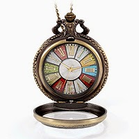 Retro Style Wheel Rome Pocket Watch Vintage Steampunk