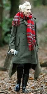 Gwen Stefani in a tartan scarf