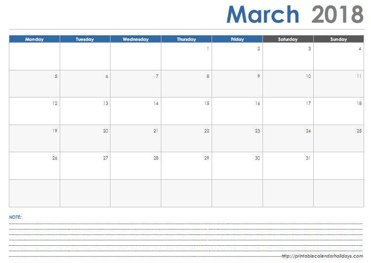 Get Printable Calendar March 2018 Calendar Printable Templates