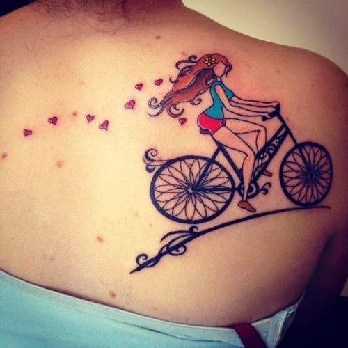 ♥ ♫ ♥ Cool Bicycle Tattoo on the Back  ♥ ♫ ♥