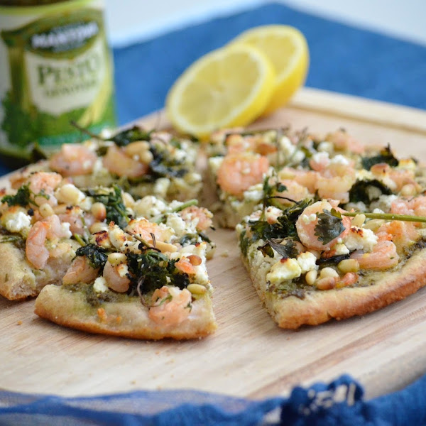 Shrimp Pesto Pizza with Feta Cheese