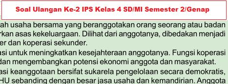 Soal Ulangan IPS Ke-2 Kelas 4 SD/MI Semester 2/Genap Materi Koperasi