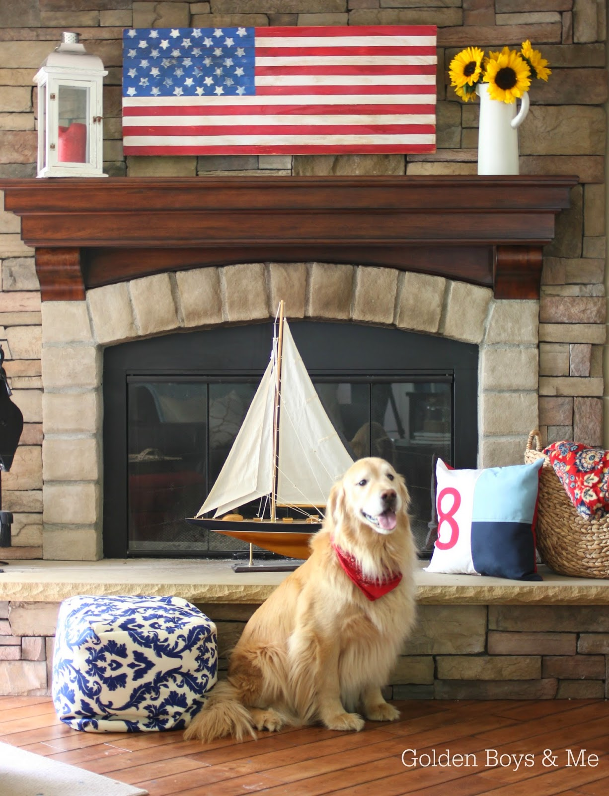 Golden Retriever with red bandanna and American flag in summer family room-www.goldenboysandme.com