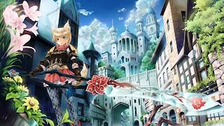 Cute Warrior Animal Ear Tail Armor Big Long Sword Flower Castle Sky Female Girl Lady HD Wallpaper Desktop PC Background 2080