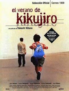 Portada pelicula el verano de kikujiro Takeshi Kitano fotogramailustrado niño corriendo playa yakuza