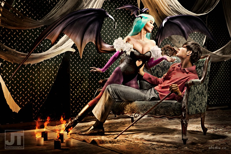 alodia gosiengfiao as morrigan aensland les femme fatales cosplay