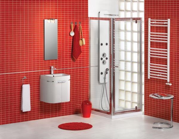 Banheiros com pastilhas vermelhas  pouco dim dim -> Banheiro Branco Com Pastilhas Vermelhas