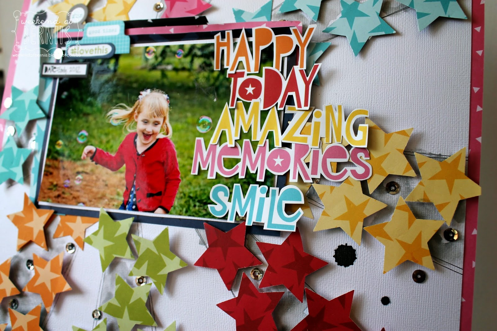 """ Happy Today "" layout by Bernii Miller using Bella Blvd papers."