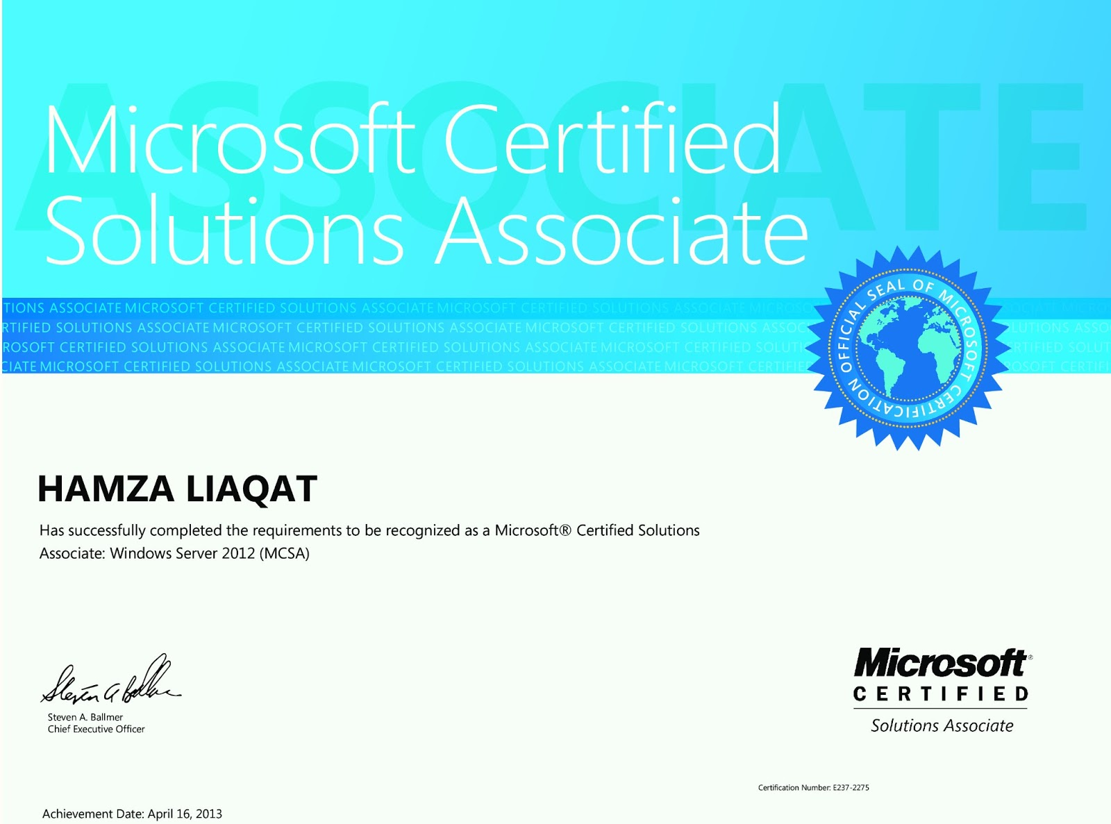Hamza Liaqat Profile Mcsa Windows Server 2012