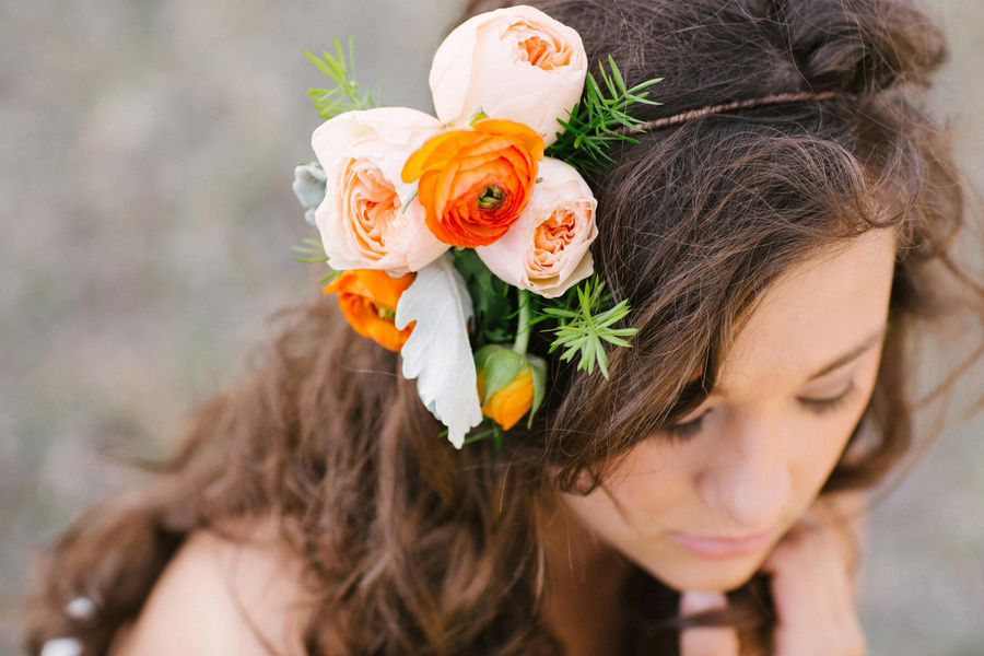 flower crowns, bohemian chic bride, eco-chic bride, ranunculous