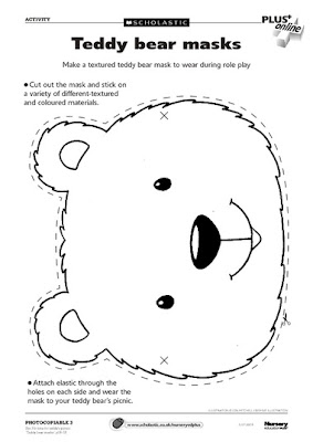 Bear Mask Templates http://earlyplaytemplates.blogspot.com/2013/05/teddy-bear-mask-templates-to-print-out.html