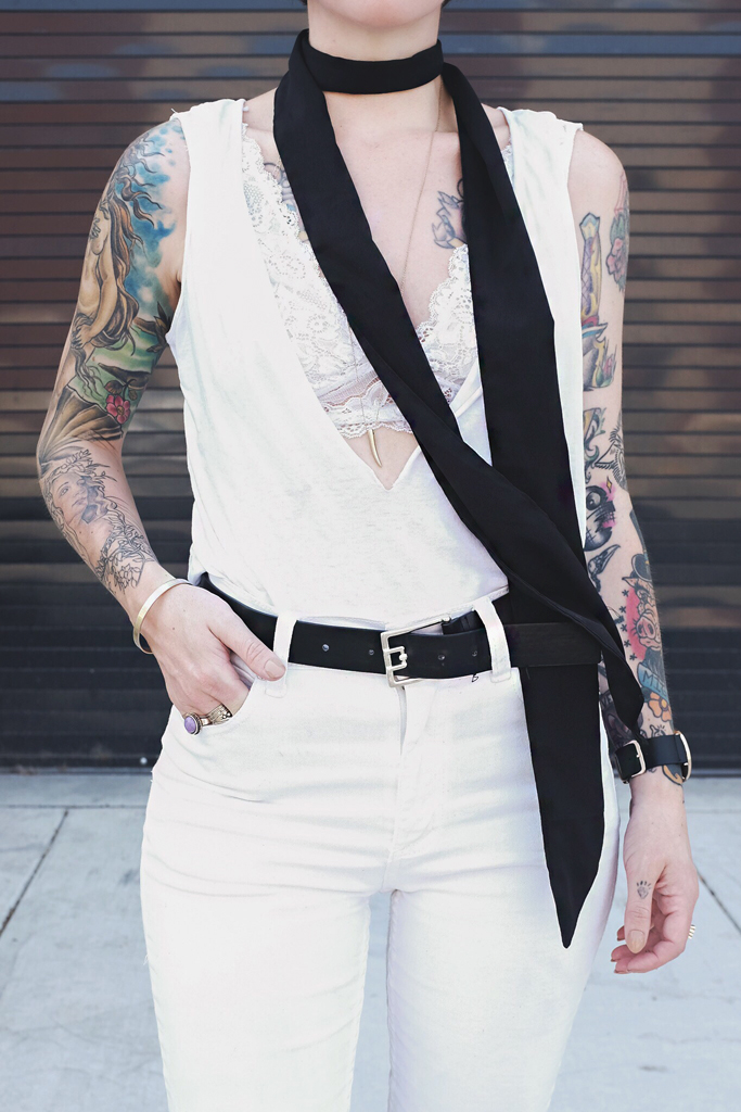 White Outfit with Skinny Scarf - Mini Penny Blog