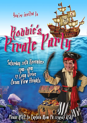 Pirate Party Personalized  Invitation with photo