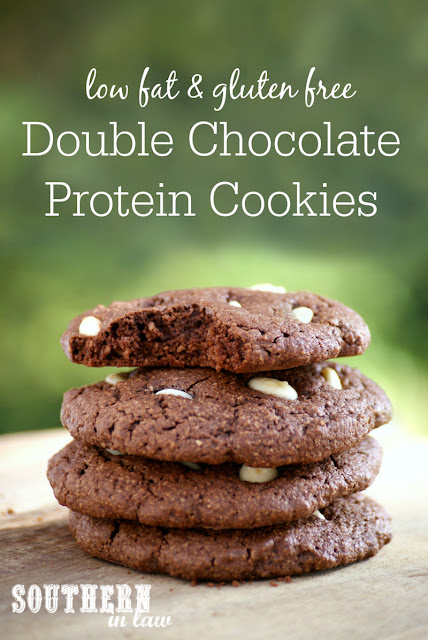Gluten Free Double Chocolate Protein Cookies Recipe | low fat, gluten free, high protein, clean eating friendly, lower sugar, refined sugar free, low carb