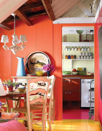 brightly painted coastal cottage