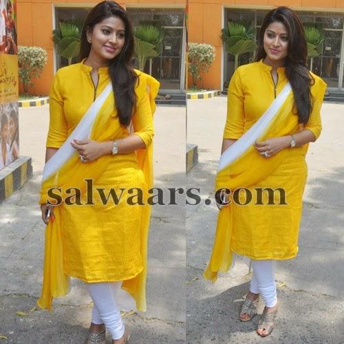 Sneha in Yellow Regular Salwar