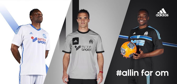 olympique marseille 14 15 home away and third kits