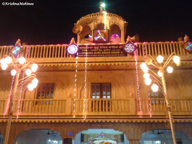 Image: Gurudwara front side beautifully lightened for Prakashotsav Celebrations