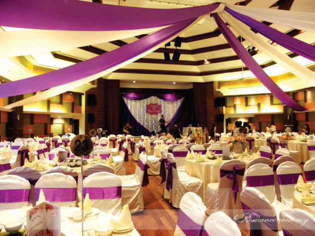 Purple & White Wedding Decoration, Royal lake club, Kuala lumpur, selangor, stage decoration, draping, hall, malaysia