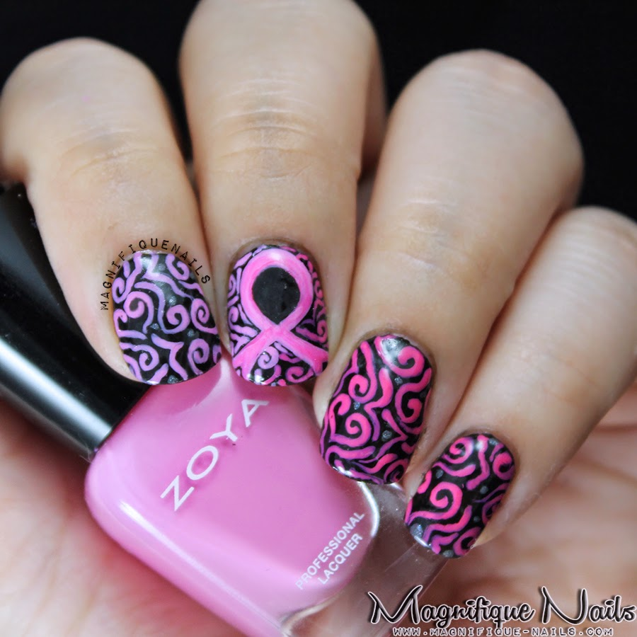 Magically Polished |Nail Art Blog|: Breast Cancer Awareness \'13 Nails
