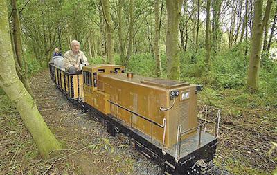 Bill Barritt bersama kereta api meluncur mengelilingi kebunnya.