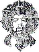 Retratos de Jimi Hendrix y Bob Marley en letras . La Guarida Geek jimmy hendrix retrato en letras
