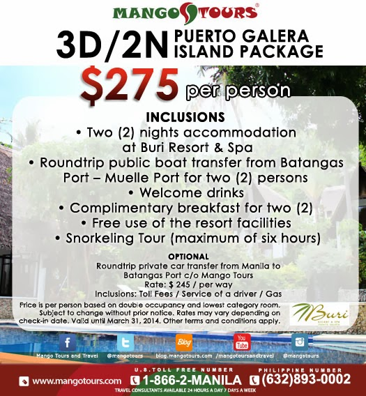 Mango Tours package Puerto Galera Philippines Buri Resort & Spa