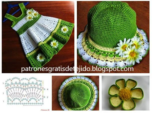 esquemas de sombrero y solero para nenas para tejer ganchillo