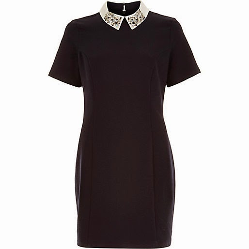 navy contrast collar dress, river island navy dress,