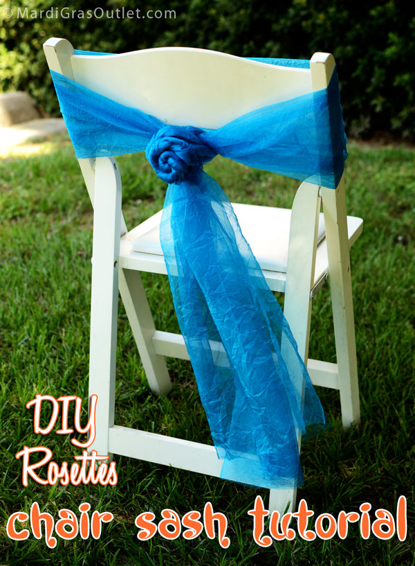 chair bows, DIY, Tutorial, Deco Mesh, Crinkle Sheer, Wedding Chair, Chair Sash, Rosette