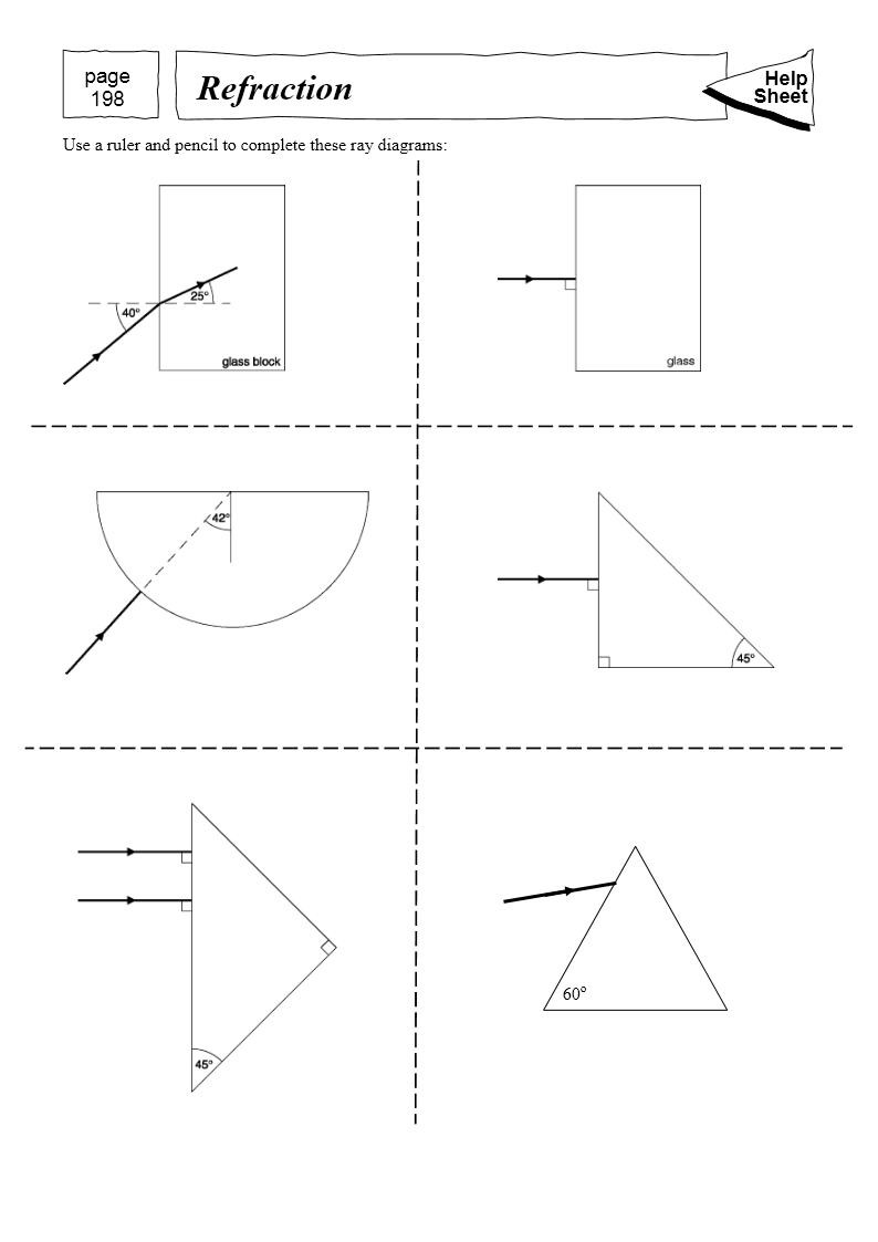 Worksheets Refraction Worksheet mad dog science 3 17 describe experiments to investigate the refraction of light using rectangular blocks