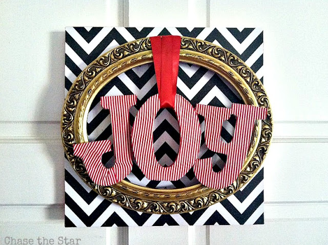 http://www.chasethestar.net, mod podge, christmas wreath, christmas, wreath, chevron, thrift store