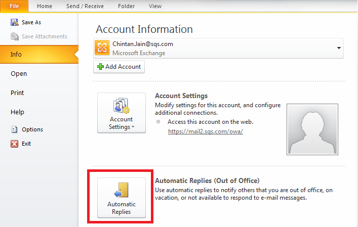 Setting up the out of office message service in outlook 2010 bok face - Set up out of office in outlook ...