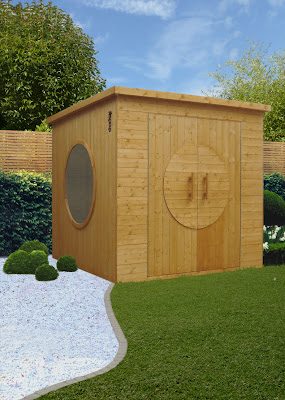 garden shed with porthole windows