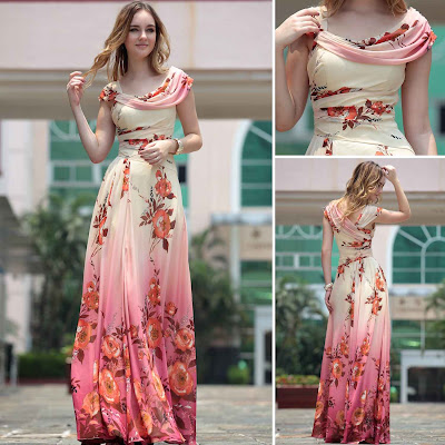 Print Cloak Floor Length Dress