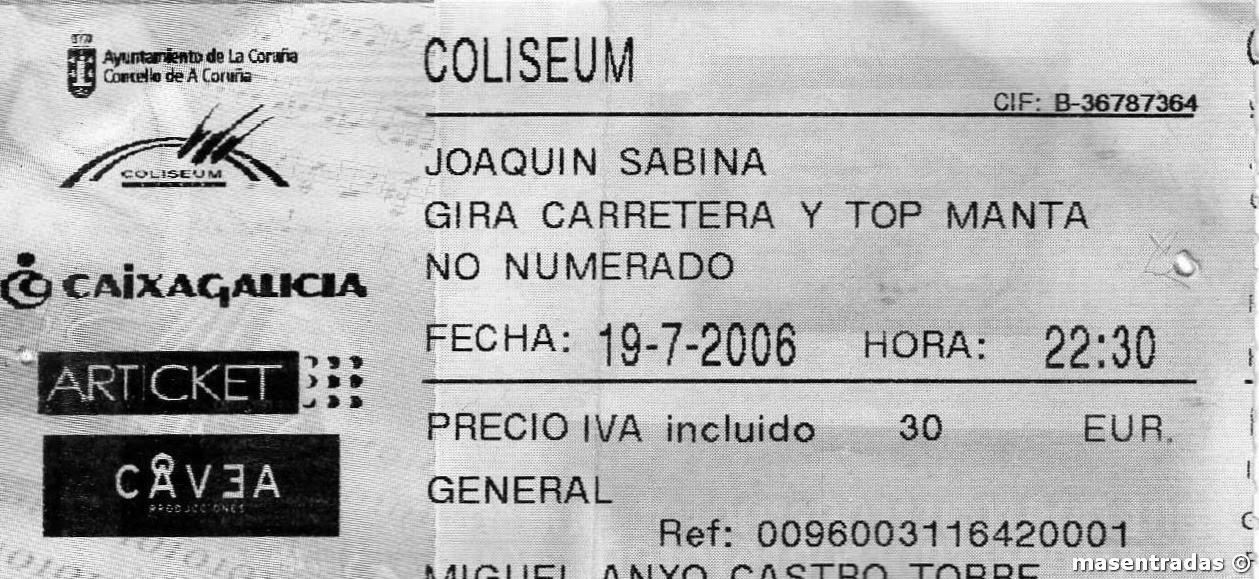 entrada de concierto de joaquin sabina