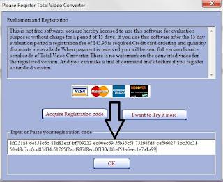 masukan key-nya pada awal pertama anda buka software TOTAL Video converter