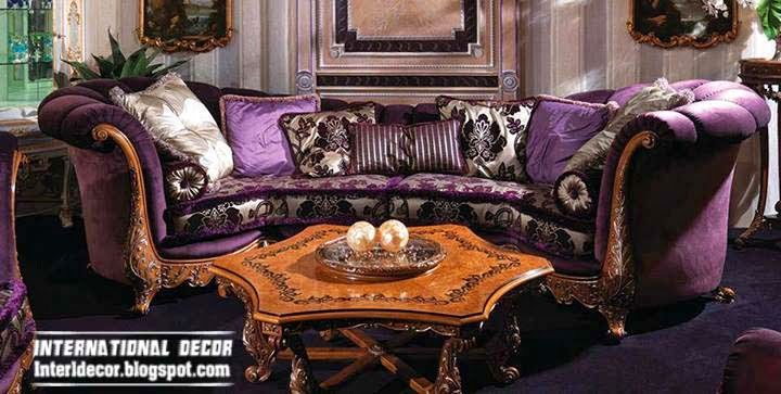 Interior and architecture luxury purple furniture sets for Purple couch set