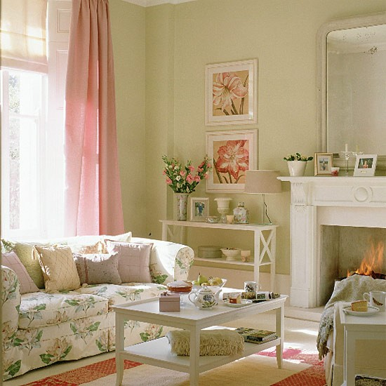 Decoraci n interior de sala floral ideas para decorar for Pink and green living room ideas