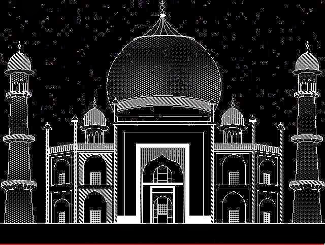 Write A C Program (WAP) to Print The Taj Mahal On Screen : C Graphics