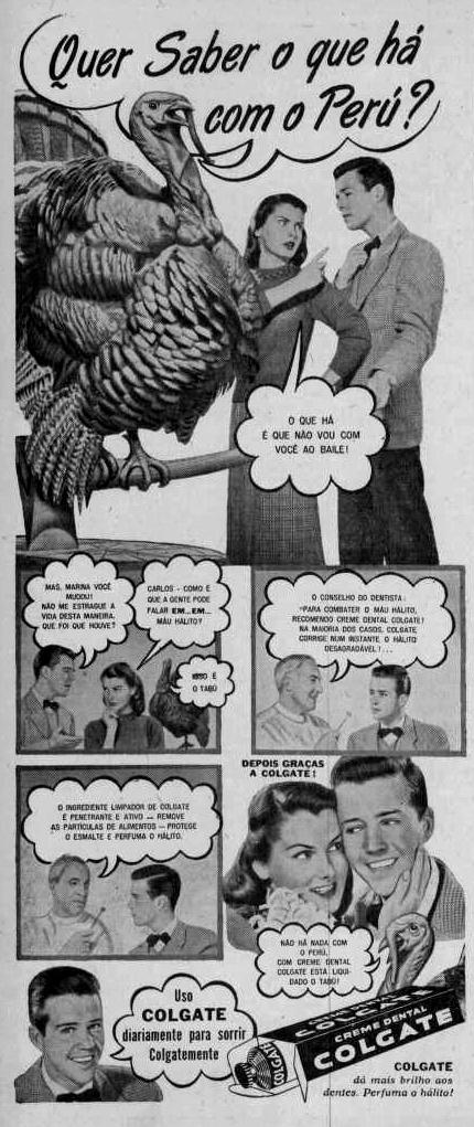 Campanha do creme dental Colgate em combate ao mau hálito, em 1948.